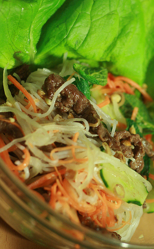 Vietnamese vermicelli with grilled beef - bun bo Nam Bo